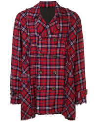 Undercover Red Distressed Plaid Coat for men