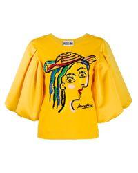 Moschino エンブロイダリー Tシャツ Yellow