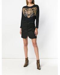 Sonia Rykiel Black Longsleeved Leopard Print T-shirt