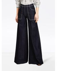 Burberry Blue Stretch Japanese Denim Wide-leg Jeans