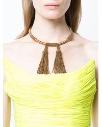Oscar de la Renta - Metallic Wrapped Beaded Tassel Necklace - Lyst