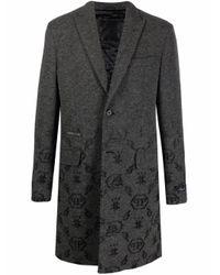 Жаккардовое Пальто С Монограммой Philipp Plein для него, цвет: Gray