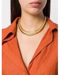 Dior Metallic 1980s 18kt Gold Plated Brass Collar Necklace