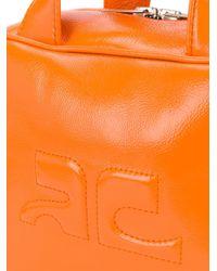 Sac cabas texturé à logo Courreges en coloris Orange