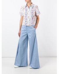 Peter Pilotto Blue Flared Godet Trousers