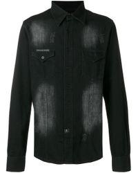 Philipp Plein Black Embellished Skull Denim Shirt for men