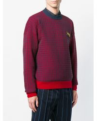KENZO Red Check Knit Sweater for men