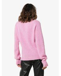 Tibi Pink High Neck Wool Sweater