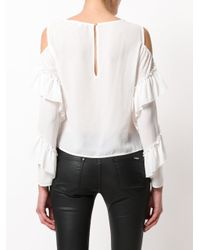 Patrizia Pepe White Cold Shoulder Blouse