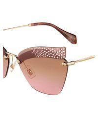 Miu Miu Pink Folie Rhinestone Sunglasses