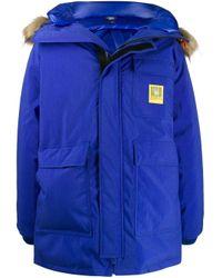 R13 Blue Faux Fur Hooded Parka for men