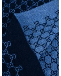 Gucci - Blue Gg Supreme Pattern Scarf for Men - Lyst