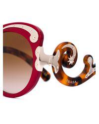 Prada Red Embellished Sounded Sunglasses