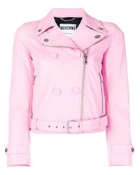 Moschino Pink Double Breasted Biker Jacket