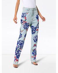 Ashish Blue Floral Embellished Straight Leg Jeans