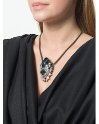 Shourouk - Metallic Oversized Pendant Short Necklace - Lyst