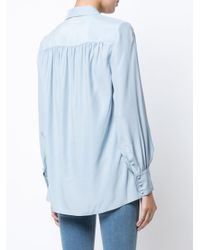 FRAME Blue Front Placket Gathered Blouse