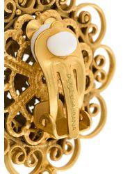 Dolce & Gabbana - Metallic Filigree Statement Clip-on Earrings - Lyst