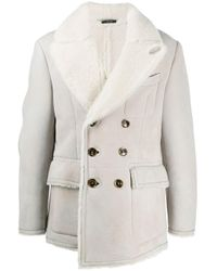 Tom Ford Gray Double-breasted Shearling Coat for men