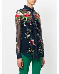 Piccione.piccione | Blue Embroidered Tulle Shirt | Lyst