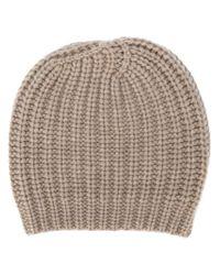 Danielapi - Natural Chunky Knit Beanie - Lyst