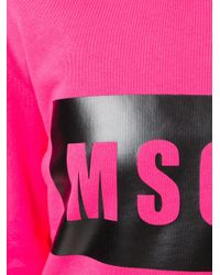 MSGM - Pink Logo Print Sweatshirt - Lyst