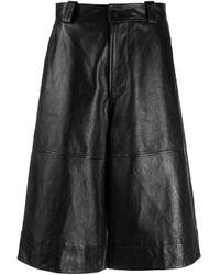 Pantalones cortos de talle alto Ganni de color Black