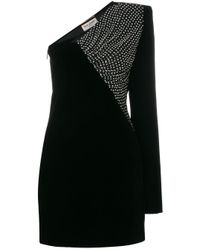 Robe courte à épaule asymétrique Saint Laurent en coloris Black