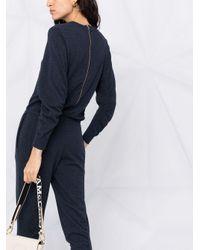 Stella McCartney シャーリング Vネックジャンプスーツ Blue