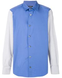 メンズ A.P.C. カラーブロック シャツ Blue