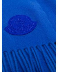 Moncler Blue Logo Patch Scarf for men