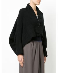 Oyuna Black Quilted Effect Pinned Cardigan
