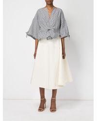Maison Rabih Kayrouz - White Pleated Midi Skirt - Lyst