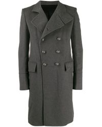 メンズ Balmain カシミア&ウール ダブルブレストコート Gray