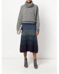 Agnona - Blue Striped Midi Skirt - Lyst
