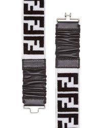 Fendi White Ff Logo Embroidered Belt