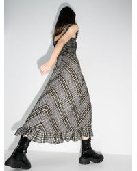 Ganni チェック スモックドレス Black