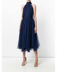 Maria Lucia Hohan Blue Beaded Tulle Dress