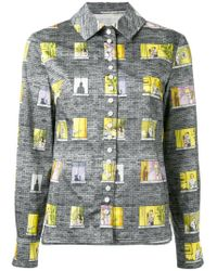 Olympia Le-Tan Gray Patchwork Patterned Shirt