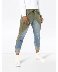Greg Lauren Blue Denim Panel Distressed Cotton Trousers for men