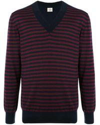 Джемпер В Полоску С V-образным Вырезом Kent & Curwen для него, цвет: Red
