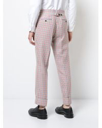 Thom Browne - Mid-rise Unconstructed Backstrap Trouser In Hopsack Check Double Woven Wool Crepe With Red for Men - Lyst