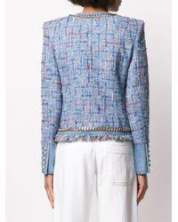 Balmain ツイード クロップドジャケット Blue