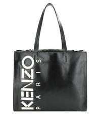 メンズ KENZO ロゴプリント トートバッグ Black