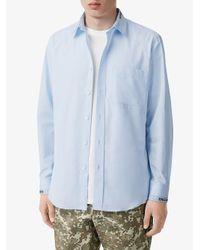 メンズ Burberry ロゴ シャツ Blue