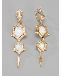 Stephen Webster Metallic 'crystal Haze' Quartz And Diamond Drop Earrings