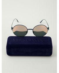 Mykita Blue Round Frame Sunglasses