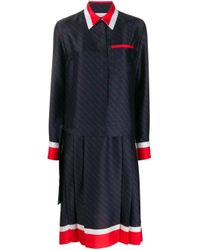 Victoria, Victoria Beckham Blue Contrast Stripe Shirt Dress