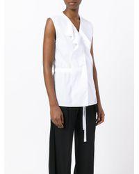 Jil Sander White Frill Front Shirt