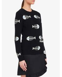 Prada Black Intarsien-Pullover mit Fischgrätenmotiv